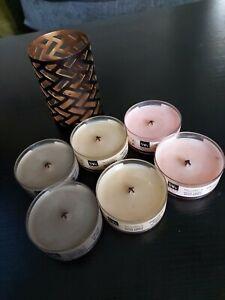 Set Of Six Woodwick Candles And Burner