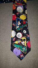 Disney Mickey Inc. Mickey Mouse Billiards Pool 100% Silk Embossed  Tie Necktie