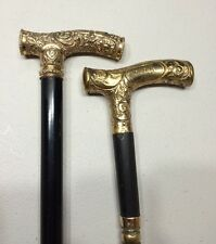 """A Pair Of Antique Gold Filled Handle Walking Sticks Canes 1907 36"""" Long Rare"""