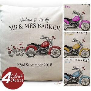 Personalised Wedding Motorbike Motorcyclist Cushion Cover Anniversary Gift 40cm