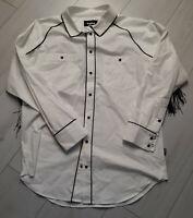 Tigha Herren Hemd mit Franzen Lago Weiß Size M UVP 149,90 €