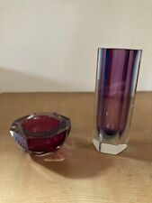 Ensemble vase hexagone + cendrier bloc verre facettes Murano Sommerso chic 70 XX