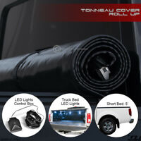For 2005-2019 Nissan Frontier 5 Ft Bed Lock & Roll-Up Tonneau Cover+LED Lights