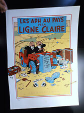 RARE lithographie EXEM Les ADH au pays de la ligne claire 300 ex signé Tintin