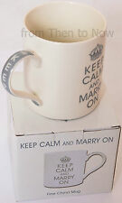 Keep Calm And Marry On China Mug Cup Wedding Gift Chic & Shabby Cream Silver