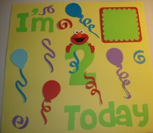elmo birthday kit, I'm 2 today, Scrapbook kit,pre-made pages, cricut die cuts