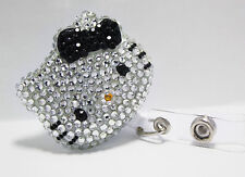 Bling Hello Kitty 45mm Retractable ID Badge Holder Blk 1pc