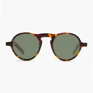 Round Retro Sunglass with Green Polarized Lens Brown Tortoise - Miami