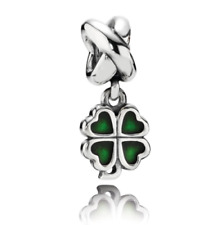 New Authentic Pandora Charm Four Leaf Clover Green 790572 With Suede Pouch