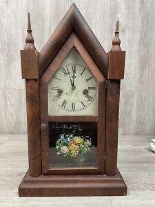 Antique Waterbury Mantle Clock 8 Day Painted Glass Key Pendulum Parts/Repair