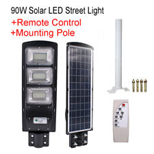 90W LED Solar Street Light Radar Motion Sense Wall Timing Lamp+Remote+Mount Pole