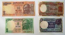 (361) INDIA LOTE 4 BILLETES 1, 2, 5 y 10 RUPIAS RUPEES