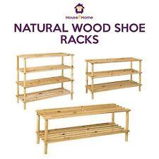 SHOE RACK SLATED NATURAL WOOD FOOTWEAR STORAGE UNIT ORGANISER 2 3 4 TIER