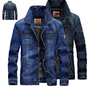 NEW MEN'S FASHION DENIM JACKET COAT CASUAL JEAN JACKETS COAT OUTWEAR TOPS COATS