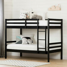 South Shore Fakto Solid Wood Bunk Beds, Matte Black