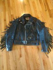 Vintage SCHOTT Men's Black Leather Motorcycle Jacket Fringe Size 40