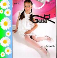 KOMMUNION festliche glatte Mädchen Strumpfhose weiß creme Blumenmädchen Gatta