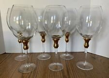 Rare 6 Extra Large Wine Glass Set Tall Gold Trim Stemware Dining Barware Glass