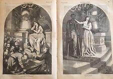 1865  Ill newspaper THOMAS NAST  ENGRAVINGS Robert E Lee DISABLED NEGRO VETERAN