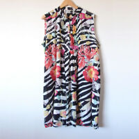 MOZAIC Colourful Bright Stripe Floral Cotton Sleeveless Tunic Top Blouse Size L
