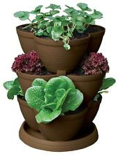 30-Qt STACK-A-POT Tiered Stackable Planter Pots BROWN Flowers Herbs Strawberries