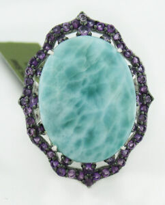 GENUINE 18.92 Cts LARIMAR & AMETHYST RING .925 SILVER * New With Tag *