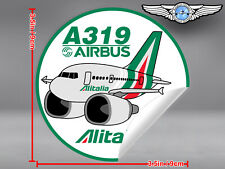 ALITALIA NEW LIVERY PUDGY AIRBUS A319 ROUND DECAL / STICKER