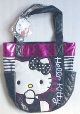 NWT HELLO KITTY LOUNGEFLY Stripe Dot Sequin Black Pink White Tote Purse Bag