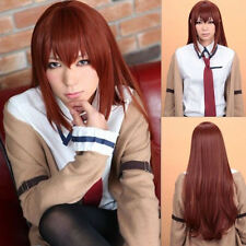 Anime  Makise Kurisu Gate Long Straight Cosplay Party wig +free wigs cap