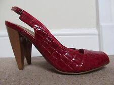 M&S Limited Collection red patent peep toe slingback shoes mock croc UK 4.5