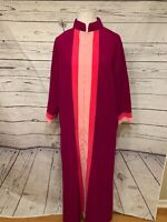 VANITY FAIR Robe Housecoat Sz 12 Gown Half Zip Dark Purple Pink Long Sleeve Flee