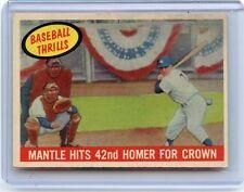 "1959 TOPPS #461 MICKEY MANTLE ""BASEBALL THRILLS"", NEW YORK YANKEES, HOF, 082717"