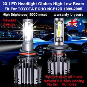 For Toyota Echo NCP12R 1999-2005 2x Headlight Globes High Low Beam LED 16000LM