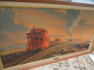 VTG The Red Caboose Paul Detlefsen Print Framed Union Pacific Train Painting
