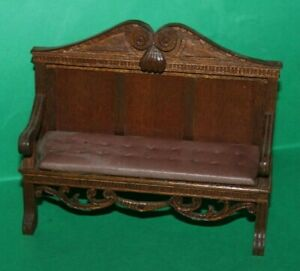 Quality Dolls House Artisan Hand Crafted Sofa With Leather Seat