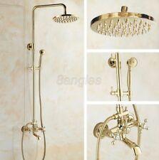 Polished Gold Brass Wall Mounted Rain Shower Faucet Set W/ Tub Mixer Tap 8gf342