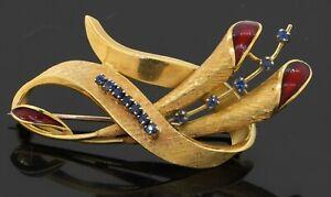Vintage heavy 18K gold .36CTW sapphire florentine finished enamel floral brooch