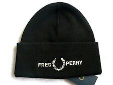 Genuine FRED PERRY Black Deep Cuff Logo BEANIE HAT Toque UNISEX New Tags