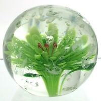 Vintage Hand Blown Glass Lime Green Daisy Paperweight Controlled Pattern M761