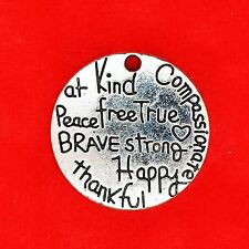 2 x Tibetan Silver Brave Thankful Peace True Free Kind Happy Plate Charm Pendant
