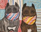Cane Corso in Masks Giclee Art Print 11x14 Signed by Artist KSams Vintage Style
