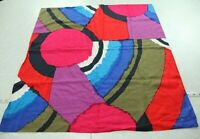 """Vintage 80s 90s Echo Lightweight Cotton Square Scarf Colorful Geometric 29"""" Neck"""