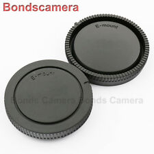 Black Camera Body Cover + Lens Rear Cap for Sony E NEX A7 A7R 7 6 A5000 16-50mm