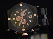 Renato Men's Wilde-Beast Black Stainless Steel & Rose Gold Tone Bracelet Watch