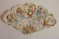 Objet de collection éventail avec enfants et fleurs papier Réf  T/B