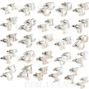 Mens initial letter silver alphabet cufflink cuff link wedding formal business