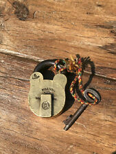 Vintage Solid Brass Indian Steel Padlock With Key Working 4 Levers Registered