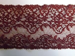 French Stretch Lace Trim ~ 4 Metres ~ Vintage Made in France ~ Dark Red