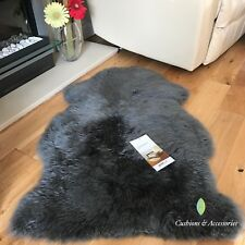 Grey BOWRON Sheepskin Gold Star Single Piece Natural Long Wool Rug 60cm x 95cm