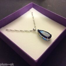 PE 45 Large Deep Blue Sapphire Pendant & Chain Silver White Gold F BOXED Plum UK